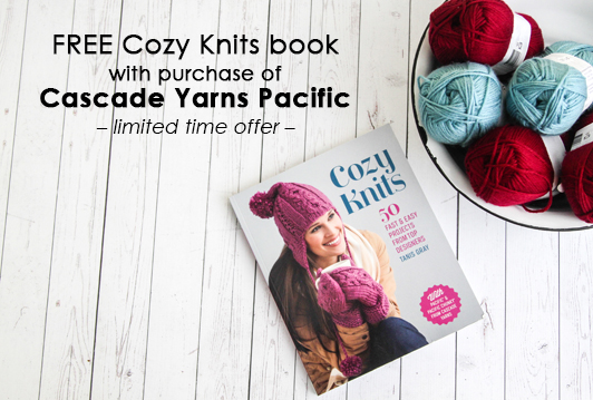 Free Cozy Knits book with Cascade Yarns Pacific purchase