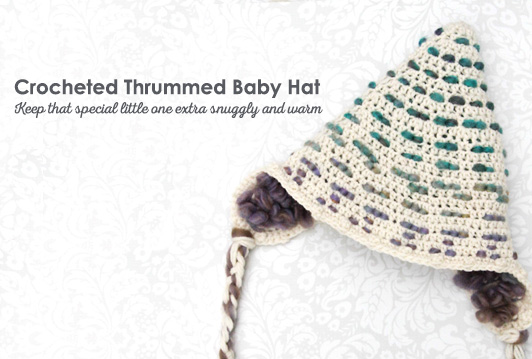 Crocheted Thrummed Baby Hat