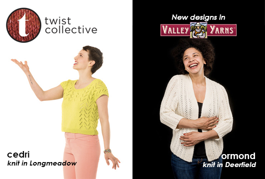 New designs from Twist Collective knit in Valley Yarns