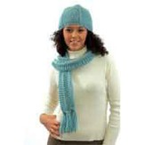 Plymouth Yarn N027 Hat & Scarf Set With A Twist