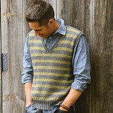 Blue Sky Alpacas Men's Striped Vest