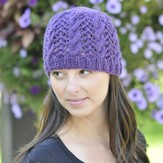 Cascade Yarns W308 Cascade 220 Heather Lace and Cable Hat (Free)