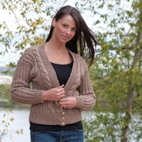 W350 V-Neck Cable Front Cardigan (Free)