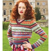 Debbie Bliss V-Neck Fair Isle Sweater PDF