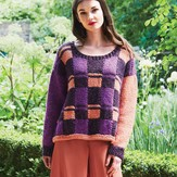 Debbie Bliss Check Sweater with Contrast Sleeves PDF