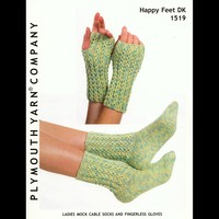 1519 Ladies Mock Cable Socks and Fingerless Gloves