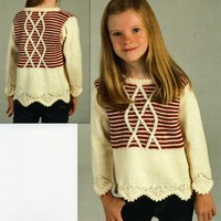 1979 Encore Worsted Girl's Garter Stripe and Lattice Pullover