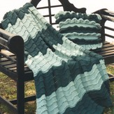 Plymouth Yarn 2019 Encore Worsted Ruffled Pillow and Afghan Set