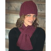 Plymouth Yarn 2117 Keyhole Scarf and Hat Set