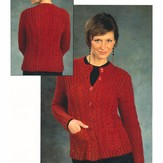 Plymouth Yarn 2386 Woman's Cabled Cardigan