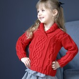 Plymouth Yarn 2566 Kid's Shawl Collar Cabled Pullover (Worsted Merino SW)