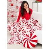 Red Heart Peppermint Throw and Pillow (Free)