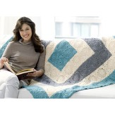 Red Heart Square Upon Square Throw (Free)