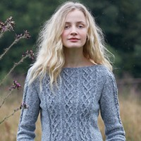 Cabled Three Quarter Sleeve Sweater (Free)